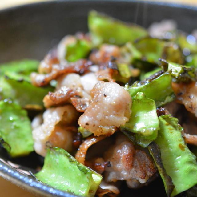 四角豆と豚こまの塩炒め