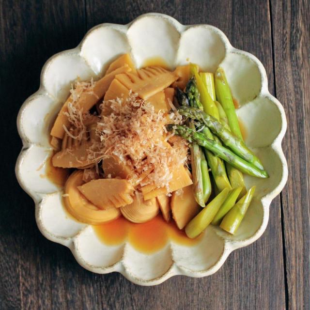【秘密の悪女キッチン】︰タケノコとアスパラの煮浸し