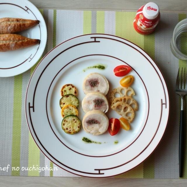 ■朝ごはん。 鶏もも肉のマッシュルーム巻き