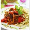 夏野菜のスパイシートマトパスタ