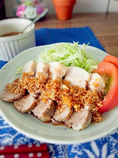 レシピ☆レンジで時短ゆで豚♪香味ソース