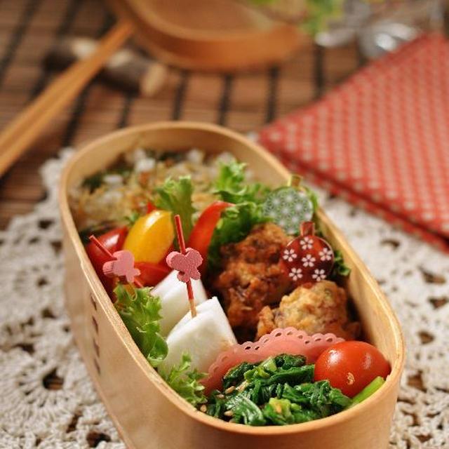 イカ団子と焼きアスバラとカリカリジャコご飯のお弁当