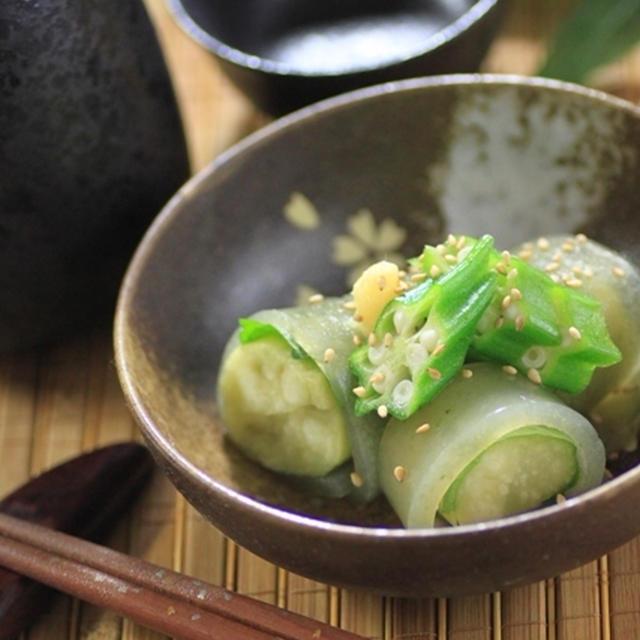 『おきゅうと』の美味しい食べ方☆ピリ辛焼き茄子巻き