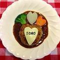 バレンタインのディナーに♪ハヤシライスのルウ de ハートの煮込みハンバーグ
