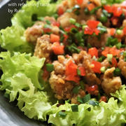 体が喜ぶ食べ方♥竜田揚げとさっぱりした味わいのトマトと韮のフレッシュソース