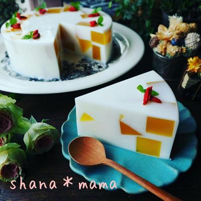ミルキ~ヘルシ~♪マンゴー杏仁豆腐寒天ケーキ♪