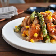 【連載つくりおき】鶏肉と焼きとうもろこしのわさびマヨぽん和え~チョコパイの作り方~  サンタクロース参観
