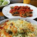 サバのトマト煮とマカロニグラタン