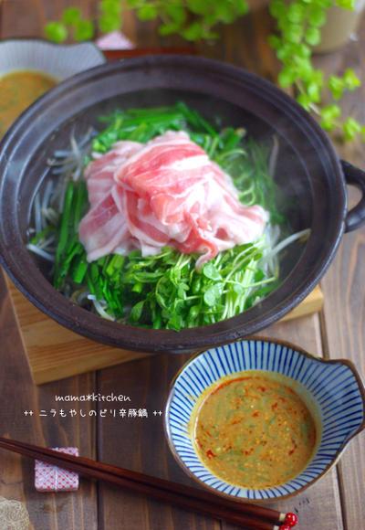 野菜高騰に負けない!豆苗ニラもやしのピリ辛豚鍋*こっちゃんの製作力。