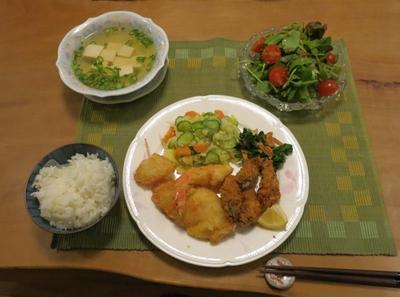 牡蠣&いろいろフライ と マヨなしポテサラの晩ご飯♪