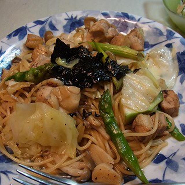 鶏肉と野菜の和風スパゲティー