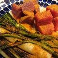 野郎飯流・焼いた葱とスティックセニョール、マグロ赤身の前菜 ボッタルガたっぷりがけ