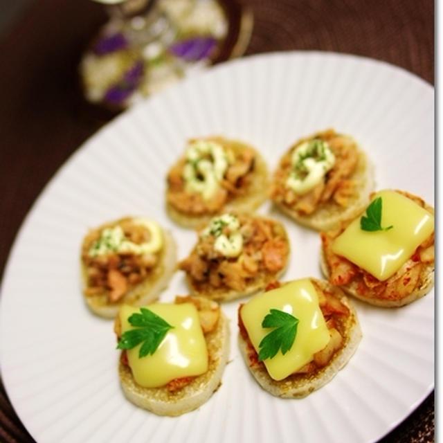 長芋でおつまみ♪ 鮭マヨ&キムチーズ