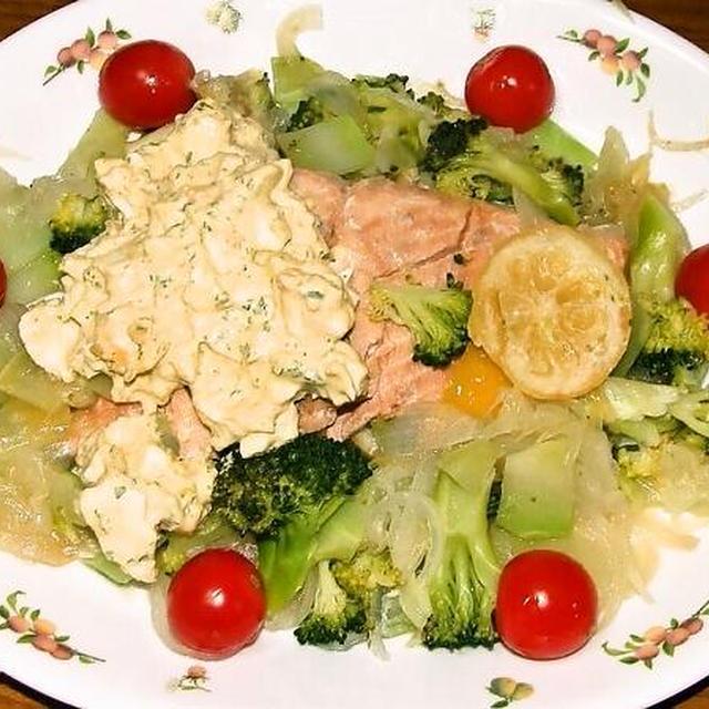 鮭のレモン蒸し&牛と茸の炒め物