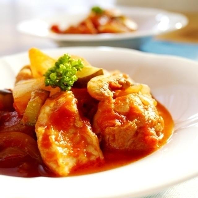 チキンの夏トマト煮と晩ごはん~姉妹