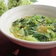 ごまスープの素でレンジで簡単☆青梗菜の卵とじ