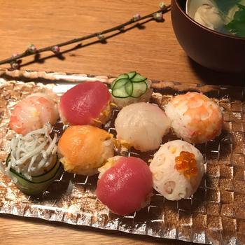 桃の節句♡手まり寿司作りました