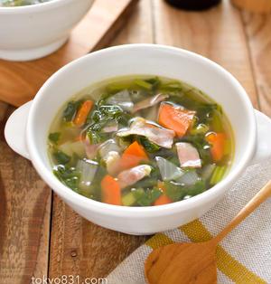 具沢山のコンソメスープ。簡単!余ったセロリの葉を消費!【農家のレシピ帳】