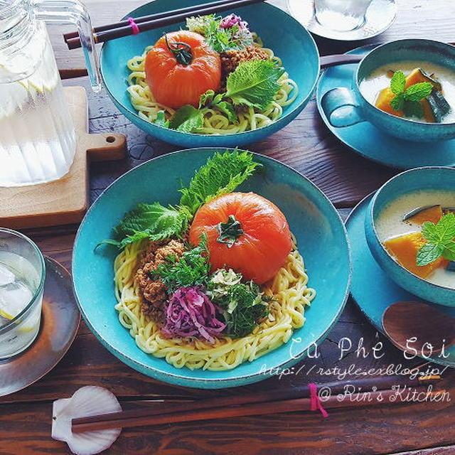 朝ごはん☆まるごと完熟トマトの冷やしジャージャー麺