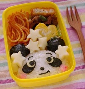 簡単パンダのキャラ弁当(ピンクのほっぺ)