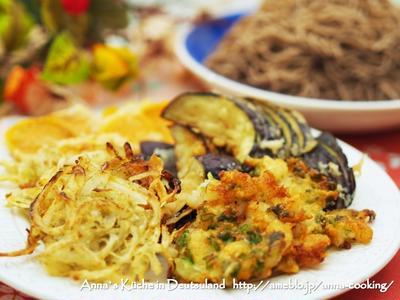 【主食】エビと葱のかき揚げ&ゴボウと玉ねぎと青のりのかき揚げ♡さつまいも・ナスの天ぷら蕎麦♡