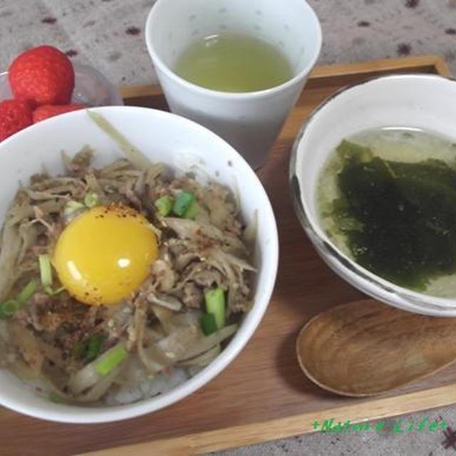 根菜と挽肉の和風どんぶり