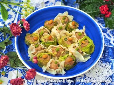 【主菜】蒸し器不要!フライパンで簡単!餃子の皮シュウマイとレタスシュウマイ