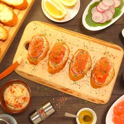 Hummus and smoked salmon tartine with colorful pepper  Recipe -No.1653-【English】