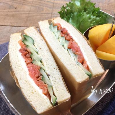 『スモークサーモンとクリームチーズのサンド』他、サンドイッチ4選♡
