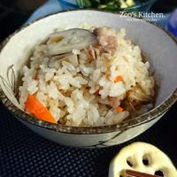 シャキシャキ蓮根が美味しい炊き込みご飯と貰い放題の晩ご飯。