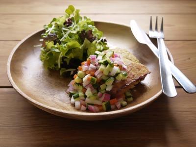 おからミートローフ 野菜マリネソース