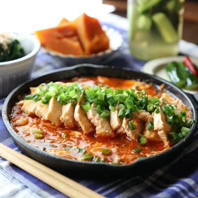 韓国風❤️鶏肉のピリ辛キムチ煮込み