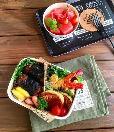 即席 BBQソースレシピ☆野菜カレー豆腐ハンバーグと肉巻きおにぎりの部活弁当✳︎かき氷シロップ??✳︎