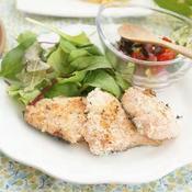 鮭のパン粉焼き昆布入りラビゴットソース