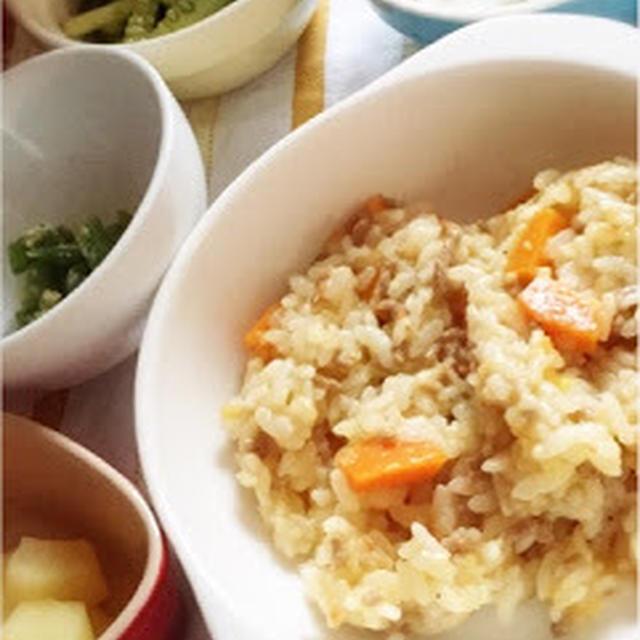 272日目-3 ご飯80g+合い挽き肉+トマト+たまねぎ+にんじん+いんげん+胡麻+きゅうり+はんぺん+りんご1/8個分