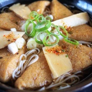 ■昼・麺類【竹の子と カリッと分厚い味付き油揚げ入り おそうめんで温麺】^^