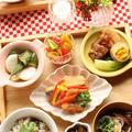 パクチーとひき肉の混ぜごはんと和食いろいろ