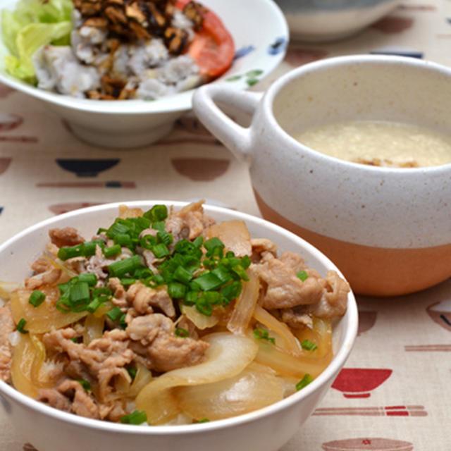 黒酢豚丼。とろとろ大根おろし豆腐スープ。の晩ご飯。
