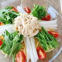 【ドレッシングで簡単】ささみとたっぷり野菜のサラダパスタ