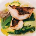 メバルのポシェ、蛤と春野菜のスープ仕立て