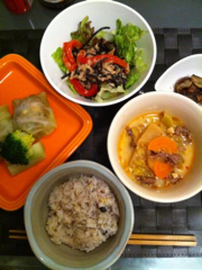 キャベツの皮でシューマイと韓国風スープ