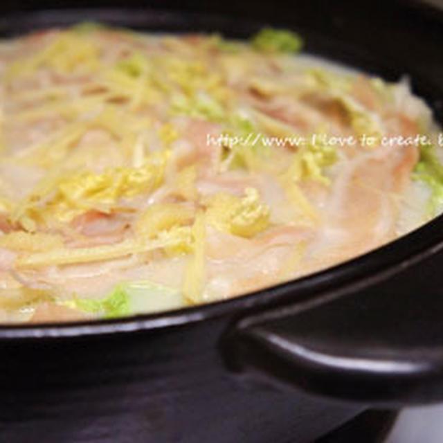 白菜と薄切り豚三枚腹の豆乳クリーム鍋