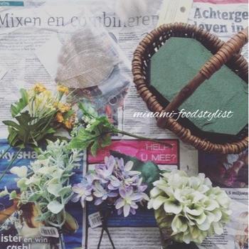 造花とドライフラワーのアレンジメント