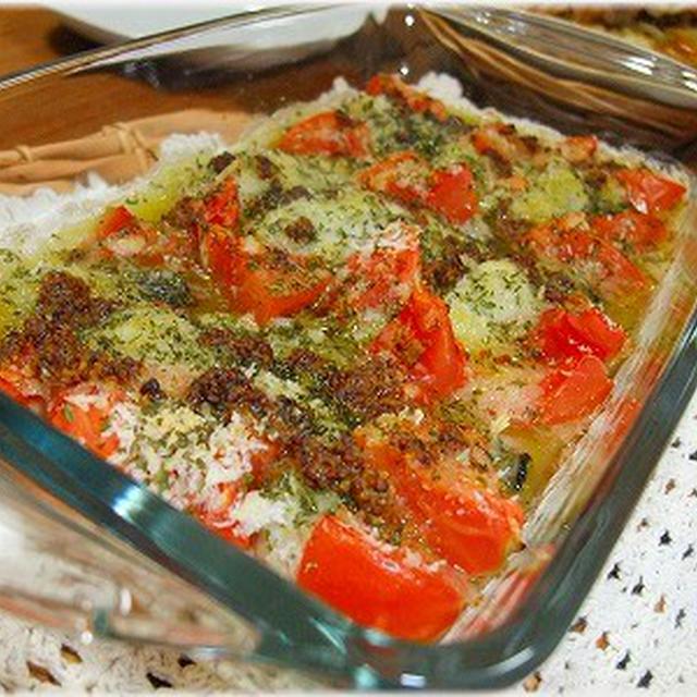 ☆カキとトマトのオリーブ焼きとペッパーポテトの豚肉のせ☆