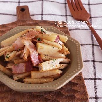 【レシピ】お箸が止まらない*たけのことベーコンのめんつゆバター焼き♡#めんつゆ #たけのこ #筍 #副菜 #お弁当