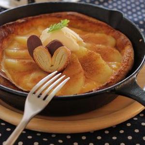 シナモンりんごとバニラカスタードのダッチベイビーパンケーキ