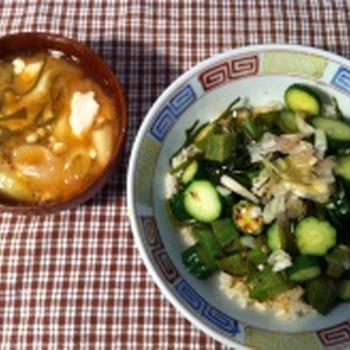 キュウリとオクラの酢醤油ぶっかけご飯