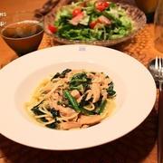 『鮭とほうれん草のスパゲッティ』の夜ごはん。
