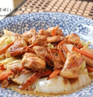 鶏と白菜の醤油味の生姜マヨ炒め