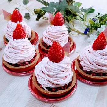 ケーキレッスン、苺のモンブラン